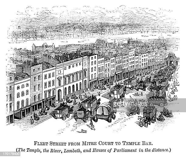 フリート街、バー「テンプル」(クリスタルパレス 1871 年建立の距離) - ロンドン市点のイラスト素材/クリップアート素材/マンガ素材/アイコン素材