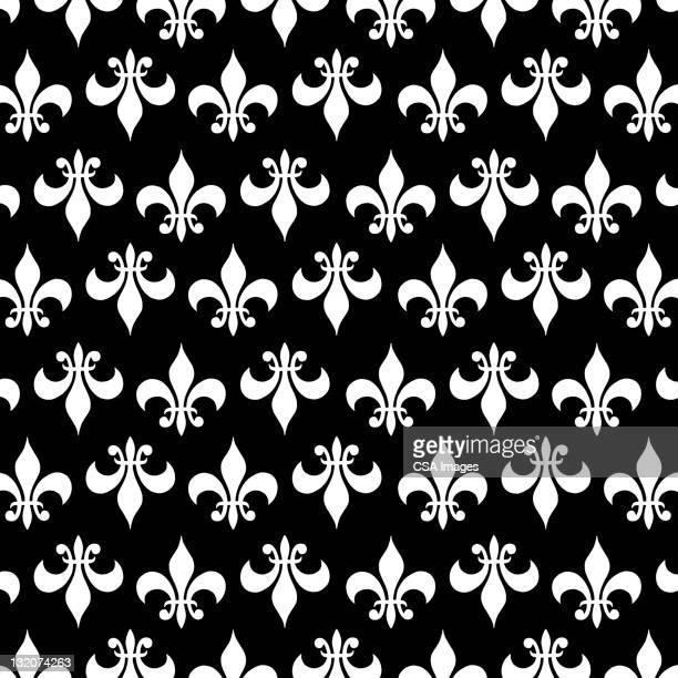 fleur-de-lis reverse pattern - french culture stock illustrations