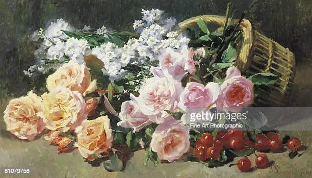 fleurs et cerises french 19th century floral painting - ölgemälde stock-grafiken, -clipart, -cartoons und -symbole