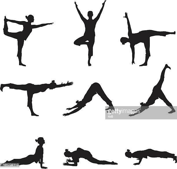 ilustraciones, imágenes clip art, dibujos animados e iconos de stock de mujer haciendo yoga flexible - yoga