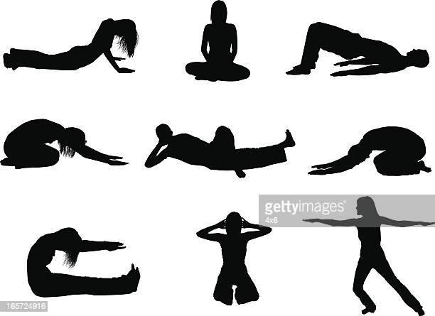 illustrazioni stock, clip art, cartoni animati e icone di tendenza di flessibilità di uomini e donne in posizione yoga - solo adulti