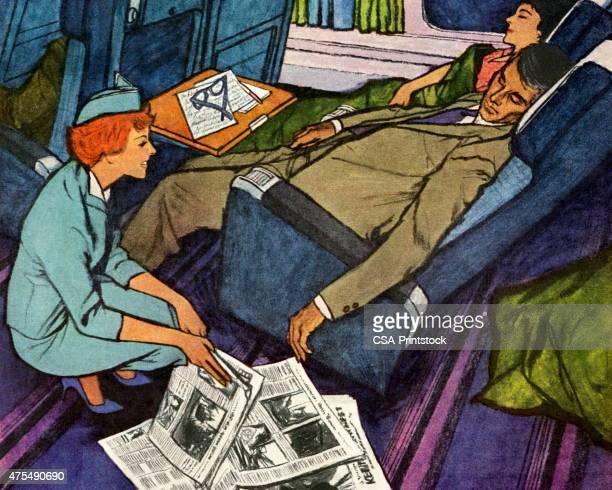 Flight Attendant and Two Sleeping Passengers
