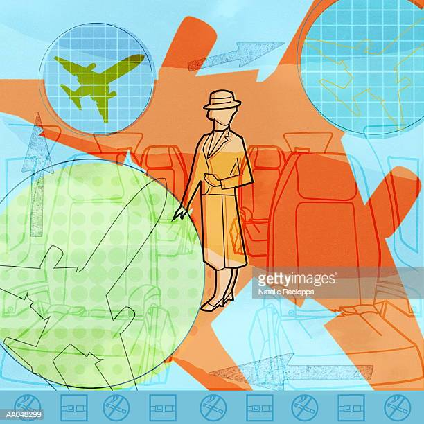 Flight attendant in airplane cabin (digital composite)