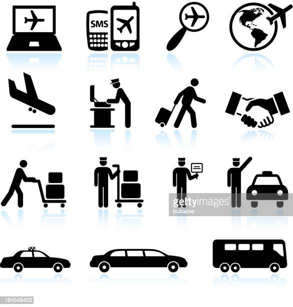 Flight status and Airport arrival black & white icon set