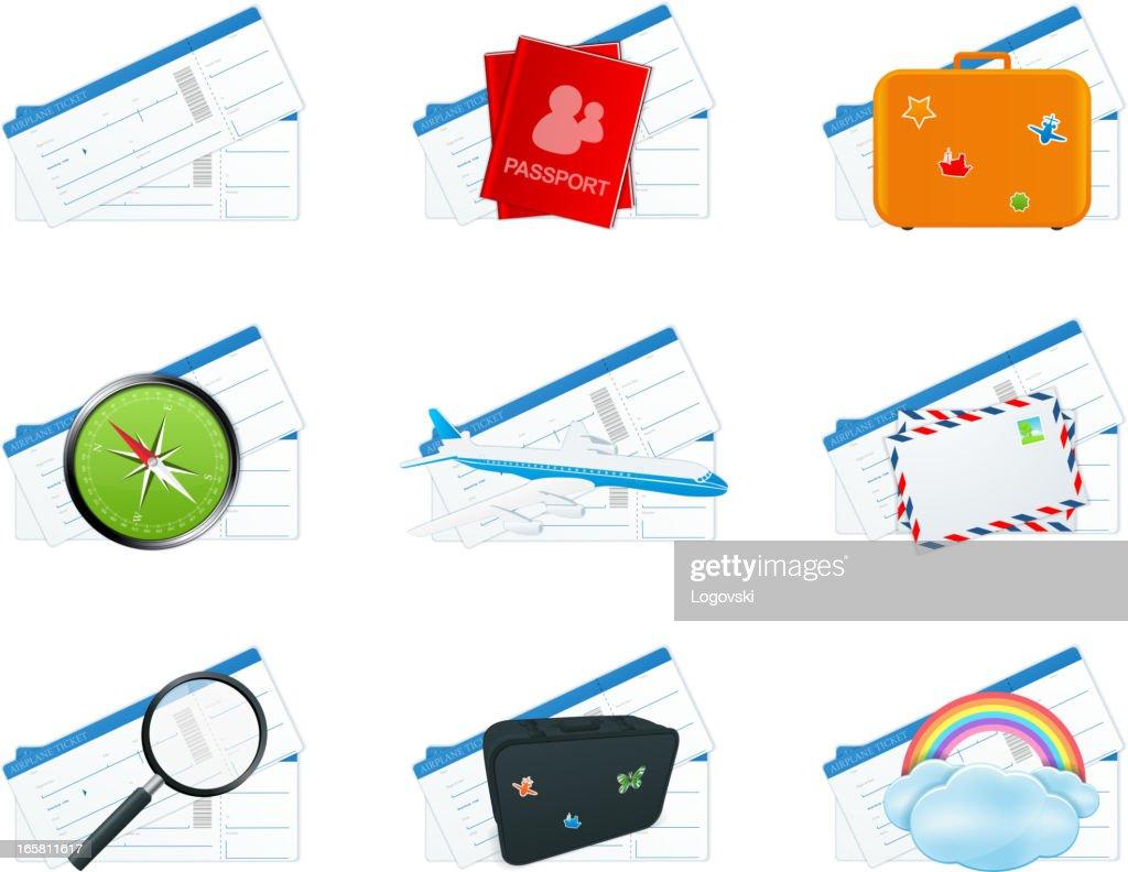 Flight ticket icons
