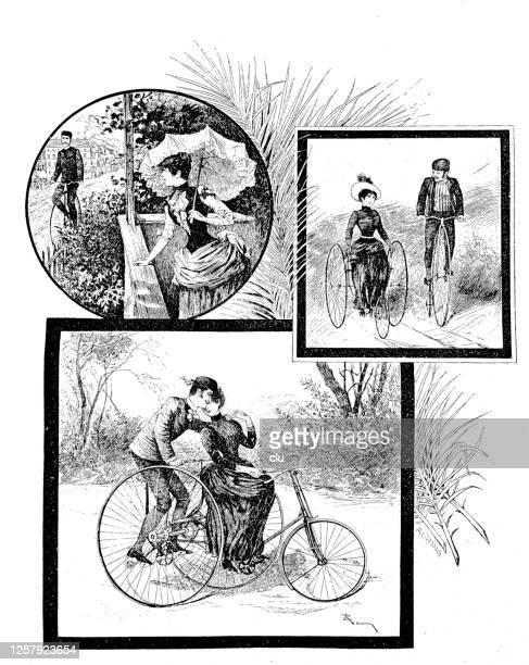 flirting with cyclists, the picture story with happy end - glühend stock illustrations