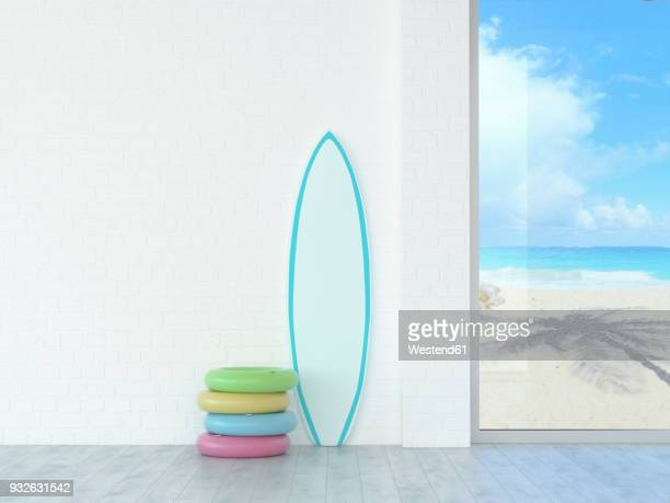 illustrations, cliparts, dessins animés et icônes de floating tires and surfboard at a wall with view to beach and sea, 3d rendering - planche de surf