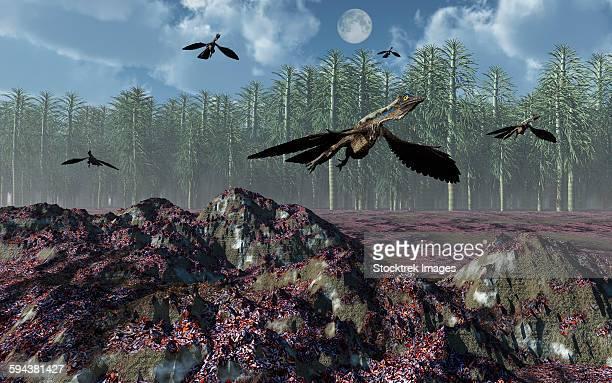 a flock of archaeopteryx bird-like dinosaurs flying above a jurassic landscape. - animal limb stock illustrations, clip art, cartoons, & icons