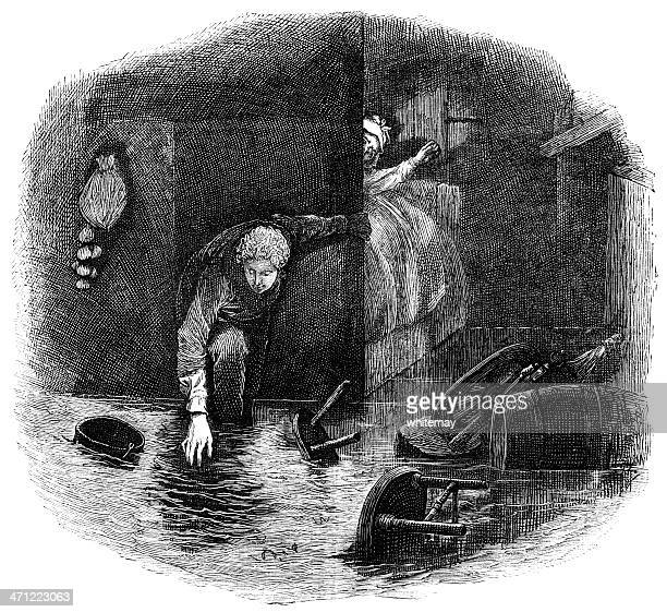 flooded house -victorian engraving - 1874 stock illustrations, clip art, cartoons, & icons