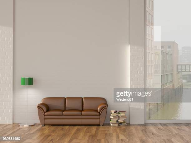 floor lamp and sofa in room with books andview on hamburg speicherstadt, 3d rendering - loft apartment stock illustrations, clip art, cartoons, & icons