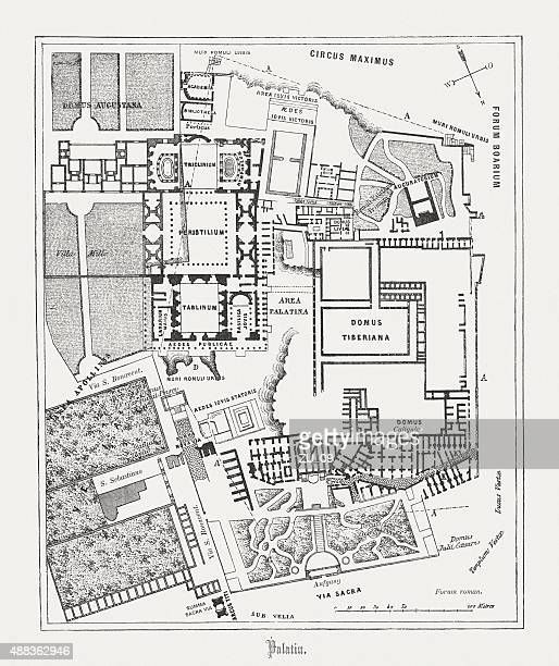 Floor plan of Palatine Hill in Rome, published in 1878