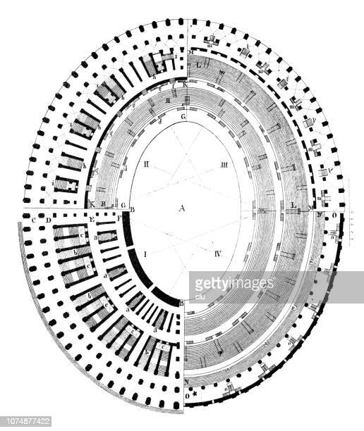 floor plan of the coliseum in  in pompeii - capital cities stock illustrations