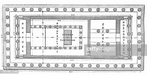 Floor Plan Of The Parthenon In Athens High Res Vector Graphic