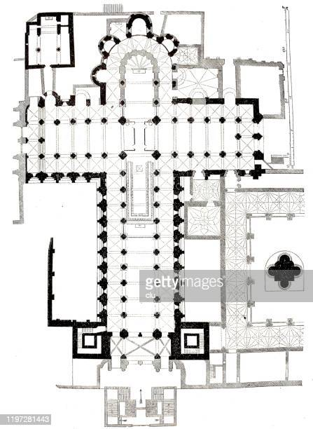 floor plan of the santiago de compostela church - santiago de compostela stock illustrations, clip art, cartoons, & icons
