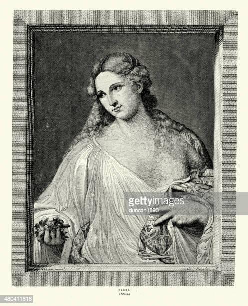 flora by titian - tiziano vecellio stock illustrations, clip art, cartoons, & icons