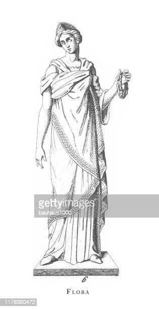 flora, greek and roman gods and religious paraphernalia engraving antique illustration, published 1851 - aphrodite stock illustrations, clip art, cartoons, & icons