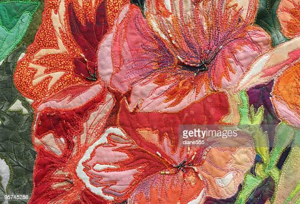 ilustraciones, imágenes clip art, dibujos animados e iconos de stock de arte floral edredón - aplique arte de la costura