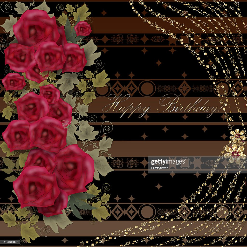 Floral Birthday Greeting Card With Roses And Text Stock Illustration