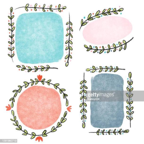 floral border drawing - kathrynsk stock illustrations