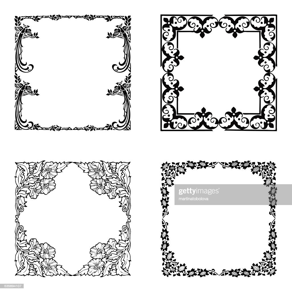 Floral borders : Stockillustraties