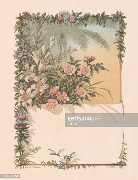Floral decor with copy space, lithograph, published in 1883