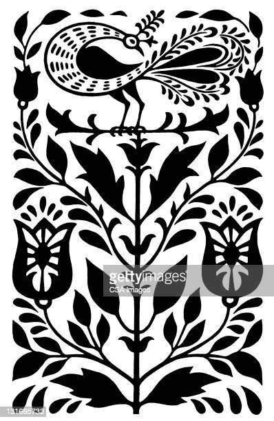 floral design - black and white stock illustrations