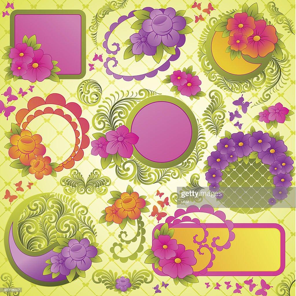 Floral elements for design.