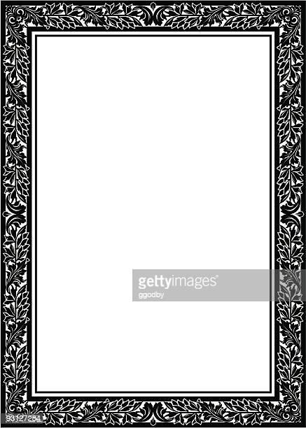 ilustrações, clipart, desenhos animados e ícones de quadro floral/fronteira (vector - moldura preta