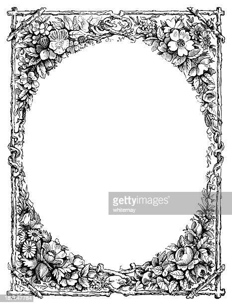 フラワーフレーム-ビクトリア朝の彫りこみ文字 - 1890~1899年点のイラスト素材/クリップアート素材/マンガ素材/アイコン素材