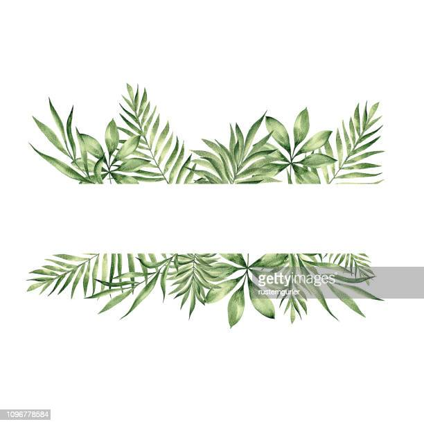 floral frame with watercolor tropical leaves - tropical bush stock illustrations