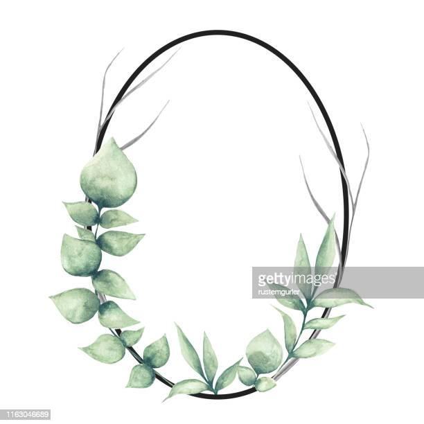 floral rahmen mit aquarell tropischen blättern - gedeihend stock-grafiken, -clipart, -cartoons und -symbole