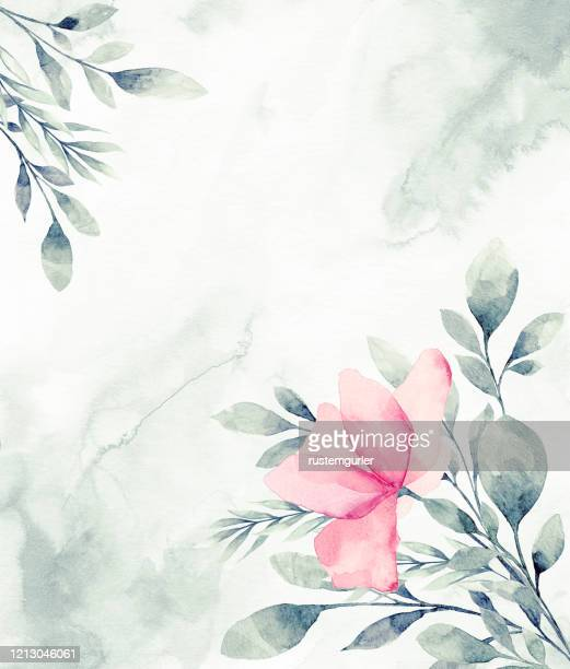 floral frame with watercolor tropical leaves - flower arrangement stock illustrations