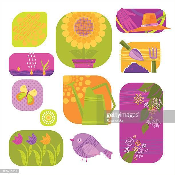 floral gardening - gardening glove stock illustrations, clip art, cartoons, & icons