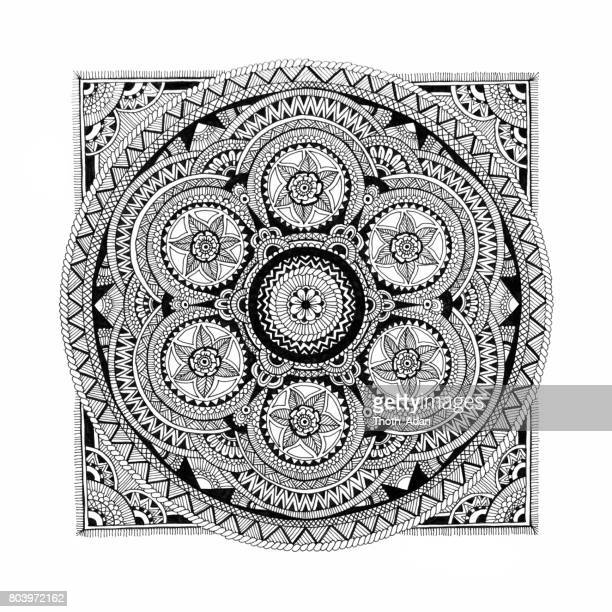 floral mandala doodle drawing - filigree stock illustrations