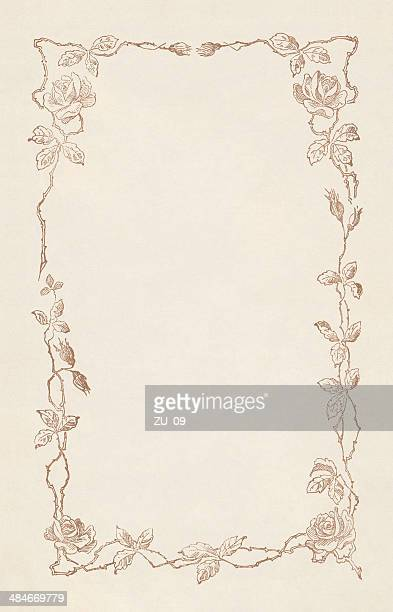 floral ornament with copy space for text, lithograph, publisched 1883 - embellishment stock illustrations