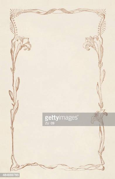 floral ornament with copy space for text, lithograph, publisched 1883 - lily stock illustrations, clip art, cartoons, & icons