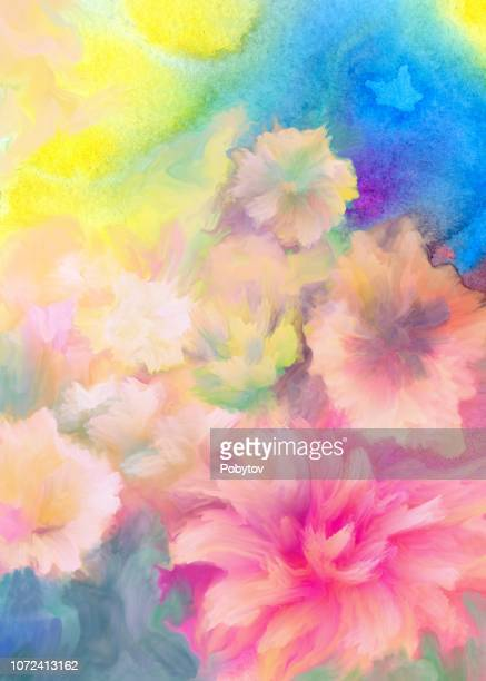 floral painted background - flower stock illustrations