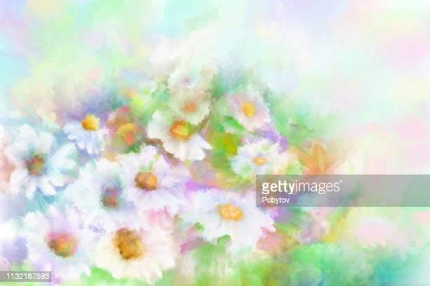 ilustraciones, imágenes clip art, dibujos animados e iconos de stock de fondo pintado floral - manzanilla