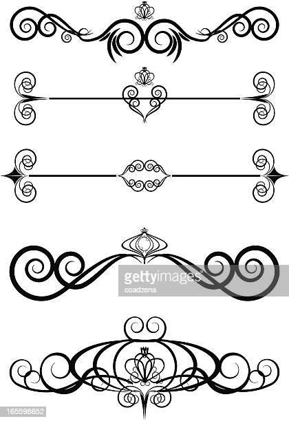 floral pattern set - tiara stock illustrations, clip art, cartoons, & icons