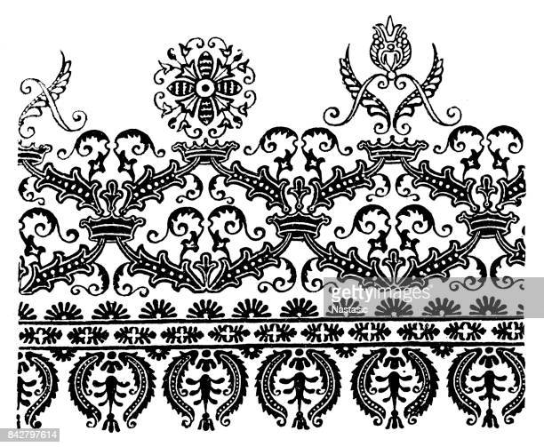 floral patterns - paisley pattern stock illustrations, clip art, cartoons, & icons