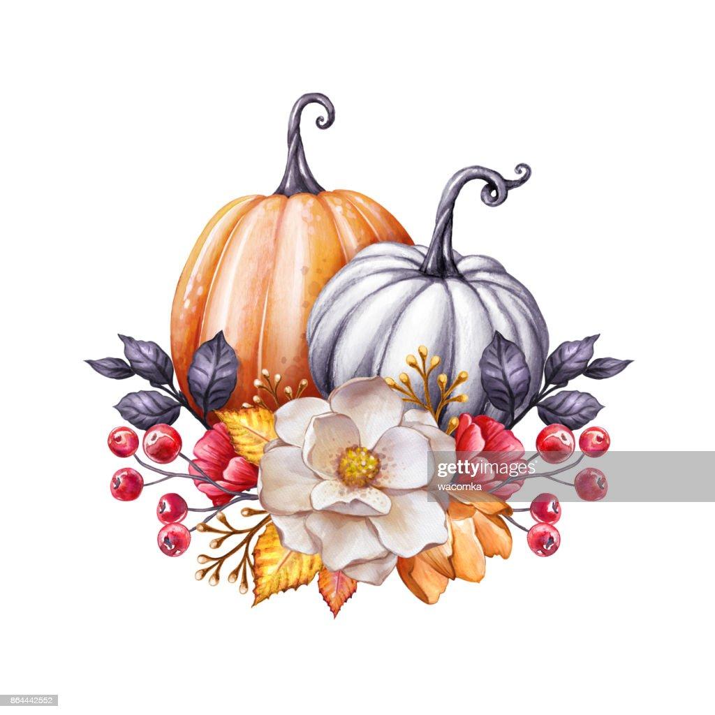 Floral Kurbisse Thanksgiving Aquarell Illustration Herbstblumen
