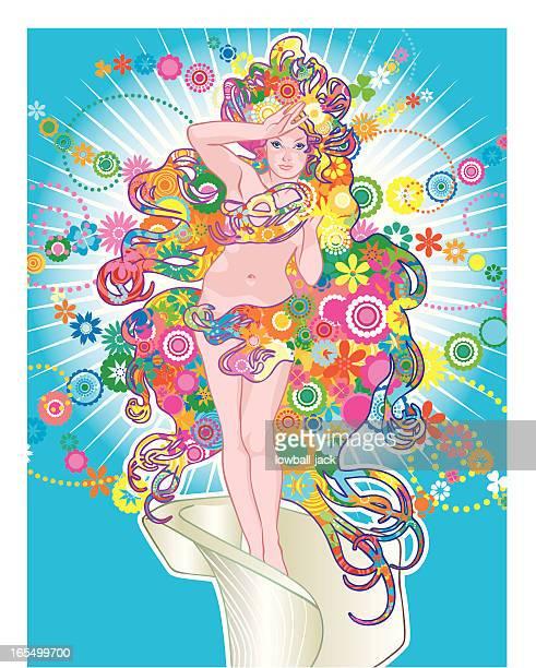 floral venus - aphrodite stock illustrations, clip art, cartoons, & icons