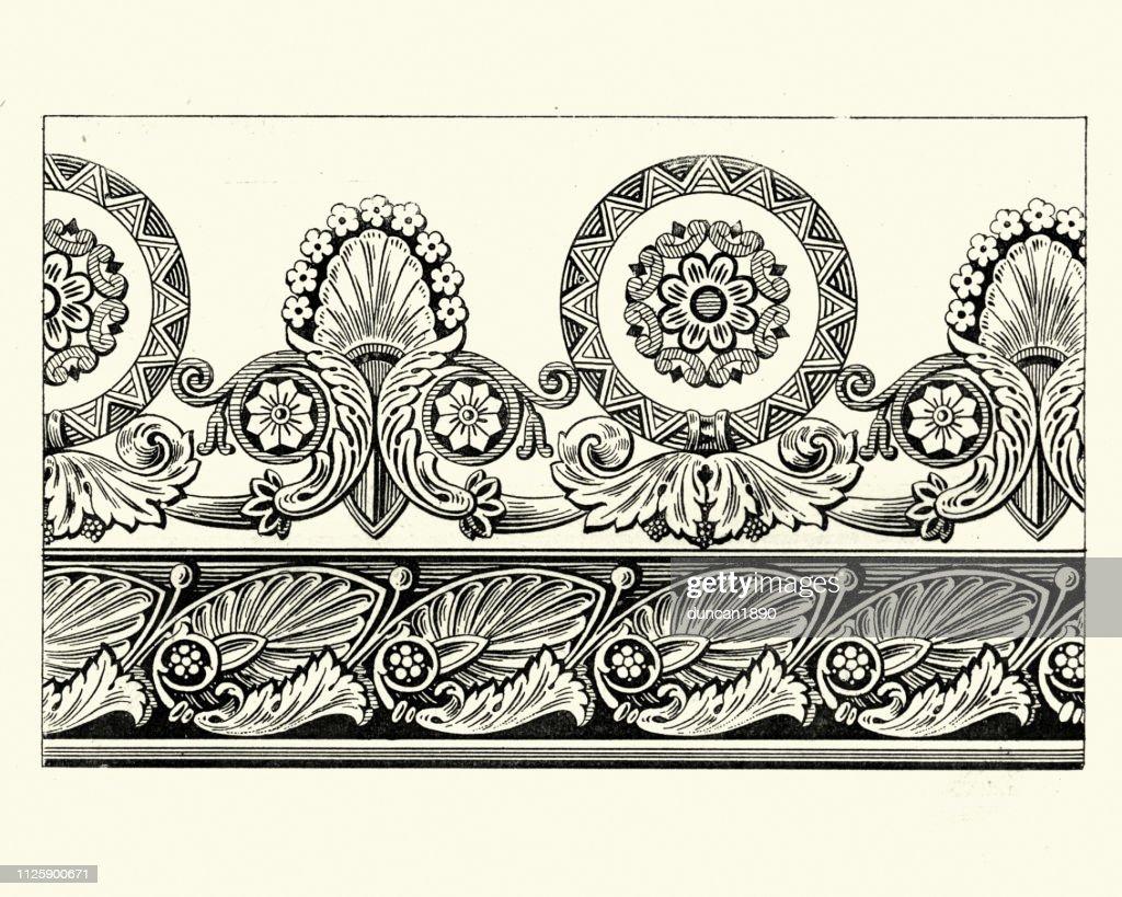 Floral Wallpaper Border Design Early 19th Century High Res Vector
