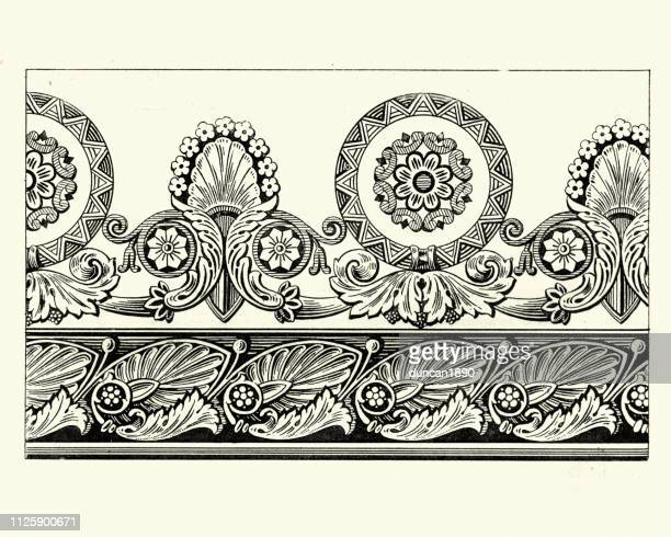 floral wallpaper border design, early 19th century - tradition stock illustrations