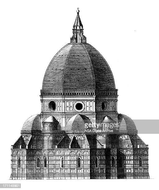 florence cathedral | antique architectural illustrations - italy stock illustrations