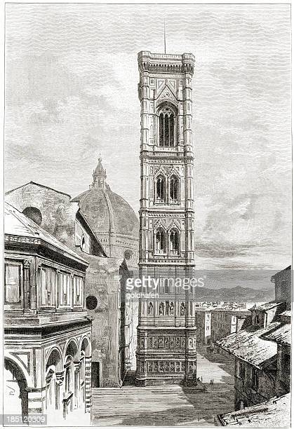 florence, giotto's bell tower (campanile) - bell tower tower stock illustrations