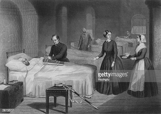 Florence Nightingale in a hospital at Scutari during the Crimean War. She came to the Crimea with thirty six nurses but received a cool welcome from...