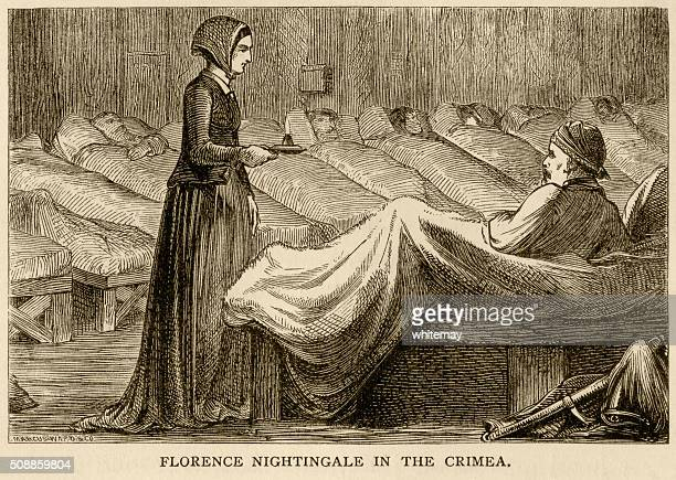 florence nightingale in the crimea - florence nightingale stock illustrations