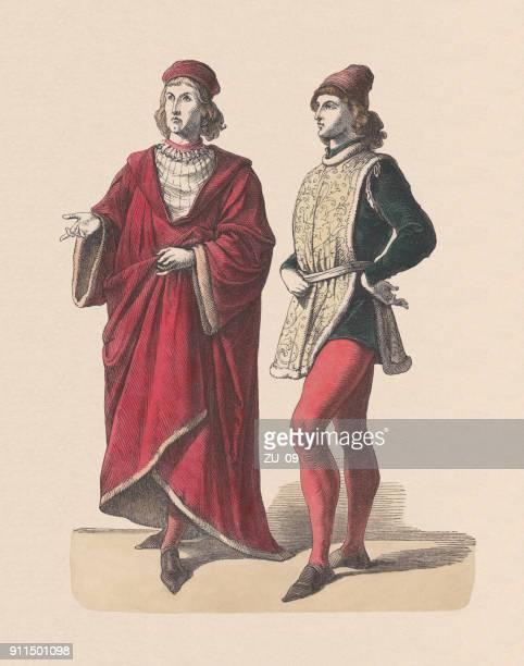 ilustrações, clipart, desenhos animados e ícones de homens nobres florentinos, do século xv, gravura em madeira colorida à mão, publicado c. 1880 - roupa tradicional