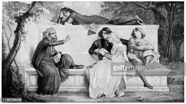 florentine poet by alexandre cabanel - 19th century - poetry literature stock illustrations